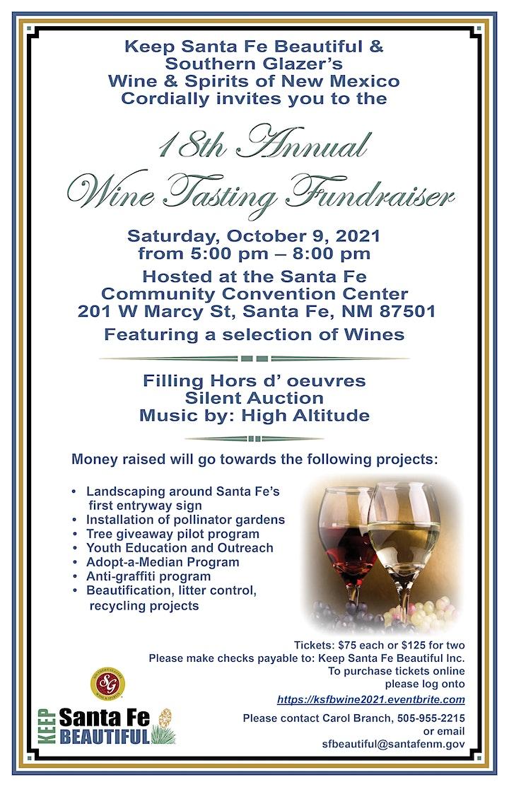 Keep Santa Fe Beautiful's 18th Annual Wine Tasting Fundraiser image