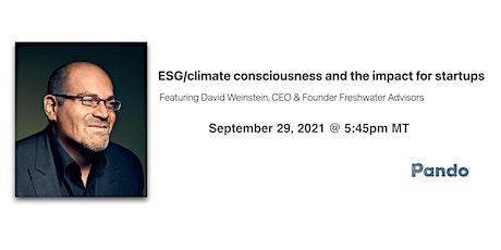 Virtual: ESG/climate consciousness and the impact for startups ingressos