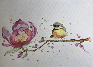 Painting in Watercolour Online - Bird and flower tickets