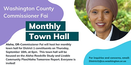 September Town Hall with Commissioner Fai tickets