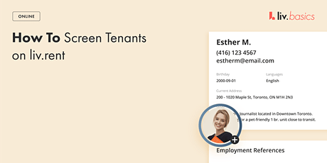 How To Screen Tenants On liv.rent   Live Webinar tickets