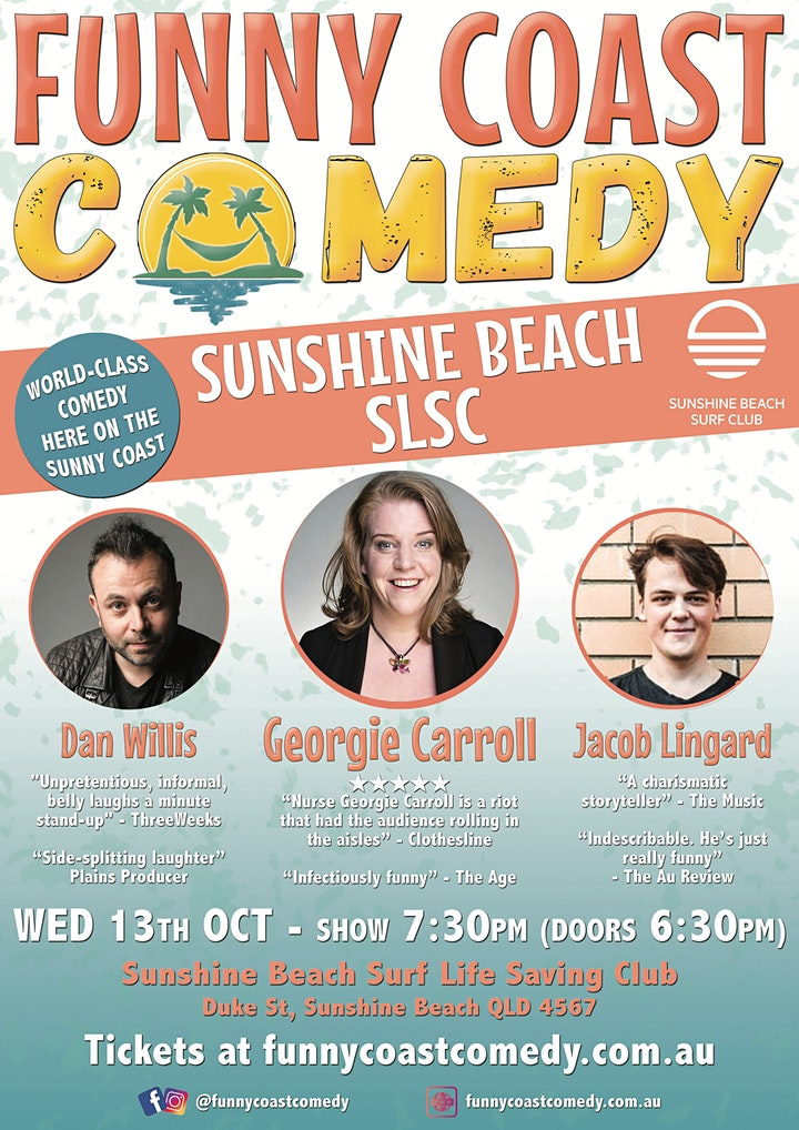 Funny Coast Comedy @ the Sunshine Beach Surf Club // Wednesday 13th October image