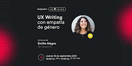 UX Talks — UX Writing con empatía de género entradas