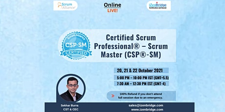 Certified Scrum Professional® – Scrum Master - 20, 21 & 22 October 2021 tickets