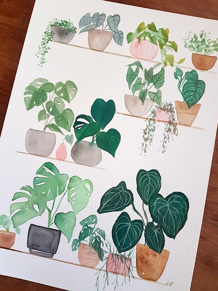 Paint your own  A4 watercolour indoor plants shelfie image