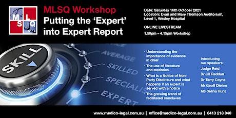 "MLSQ 2021 Workshop ""Putting the 'Expert' into Expert Report"" - Online tickets"