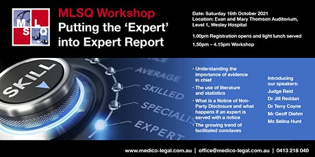 """MLSQ 2021 Workshop """"Putting the 'Expert' into Expert Report"""" tickets"""