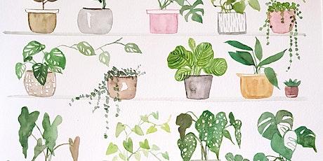 Paint your own  A4 watercolour indoor plants shelfie tickets