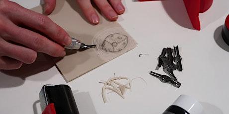 Atelier linogravure : Cartes et décos de Noël billets