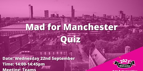 Arts and Humanities Mad Manchester Quiz tickets