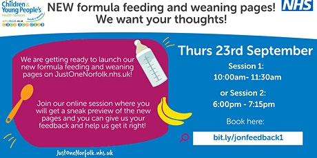 Parent feedback session - formula feeding and weaning on JustOneNorfolk Tickets