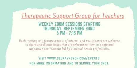 Therapeutic Support Group for Teachers (Weekly) tickets
