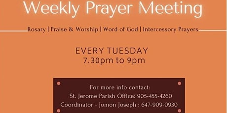 St. Jerome Parish - Maranatha Prayer Ministry/Tuesday Evening Prayer tickets