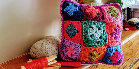 Beginners crochet - learn to make a teeny Granny Square cushion! tickets