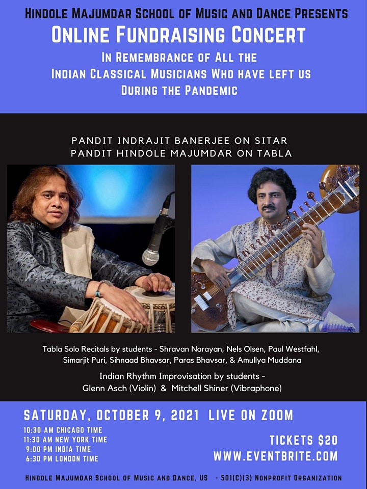 Hindole Majumdar School of Music and Dance Online  Fundraising  Concert image