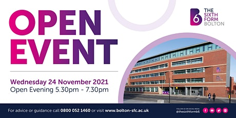 The Sixth Form Bolton | OPEN EVENT | Wednesday 24 November 2021 #B6Ready tickets