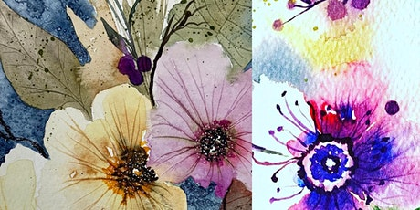 Paint, Sip, Lunch watercolours loose atmospheric  winter berries and blooms tickets