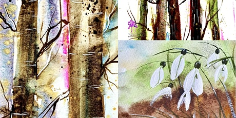 Paint, Sip, Lunch watercolours loose winter woodland and snowdrops tickets