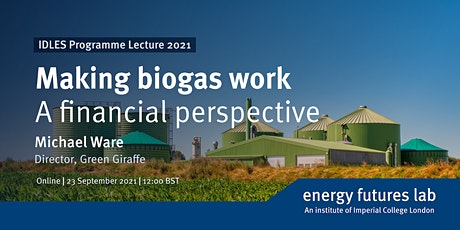 Making biogas work: a financial perspective | IDLES Programme Lecture 2021 tickets