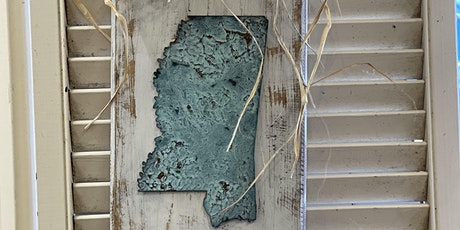 Patinaed Cutting Board with Mississippi tickets