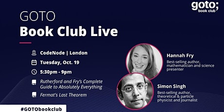 GOTO Book Club live: An evening with Hannah Fry and Simon Singh tickets