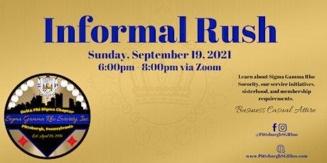 Informal Rush: Sigma Gamma Rho Sorority, Inc. - Delta Phi Sigma Chapter Tickets