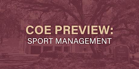 COE Preview 2021: Department of Sport Management biglietti