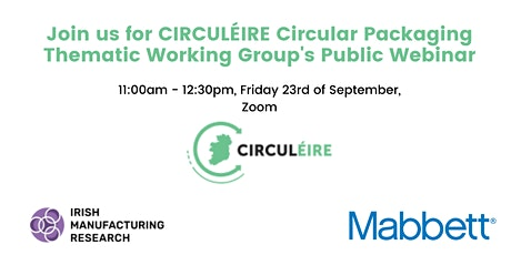 Circular Packaging Thematic Working Group's Public Webinar tickets