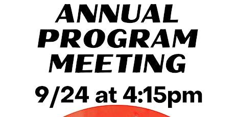 Annual Program Meeting 9/24 tickets
