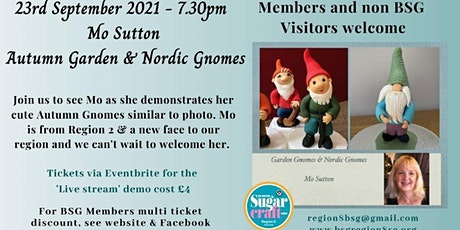Mo Sutton modelling Autumn Garden & Nordic Gnomes tickets