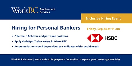 HSBC is hiring Personal Banker in the lower mainland BC tickets