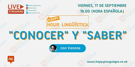 """Happy Hour Lingüística - """"Conocer"""" y """"Saber"""" tickets"""