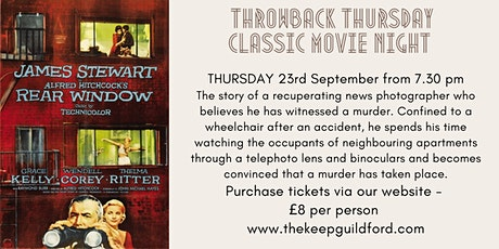 Throwback Thursday Classic Movie Night at The Keep Guildford - Rear Window tickets
