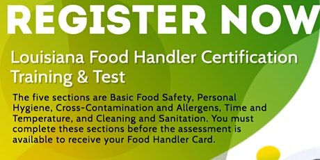 Louisiana Food Handler Certification Training & Test tickets