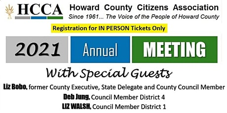 Howard County Citizens Association 2021 Annual Meeting (In Person) tickets