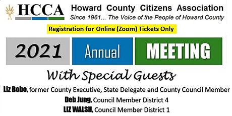 Howard County Citizens Association 2021 Annual Meeting (Zoom) tickets