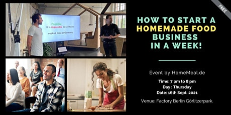 How to start a Homemade food business in a week? tickets