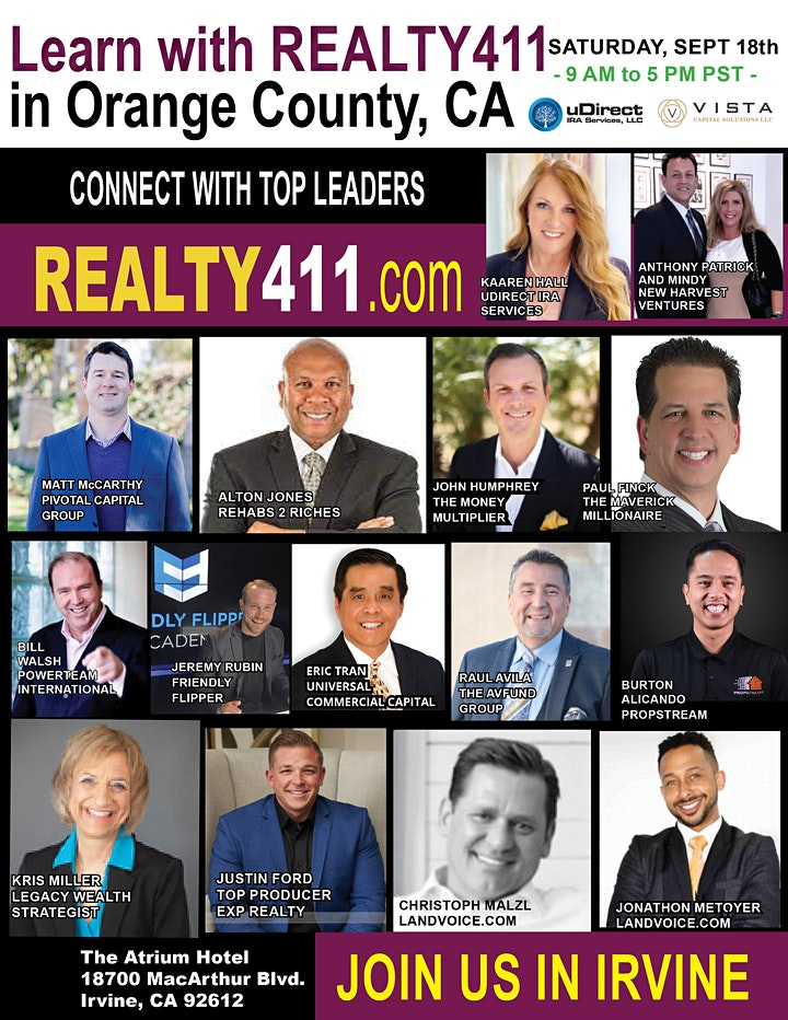 Realty411's Real Estate Investor Summit - Learn to Invest LIVE in Irvine image