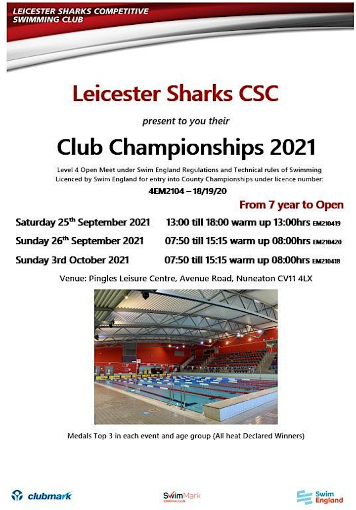 LEICESTER SHARKS CLUB CHAMPS 2021 (25th & 26th Sept 2021 & 3rd Oct 2021) image