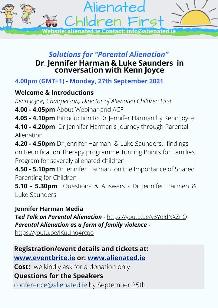 Solutions for Parental Alienation - ACF Webinar 4, Dr. J.Harman image
