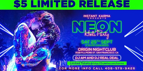 Neon Holi Bollywood Party Featuring DJ AM and DJ RealDeal tickets