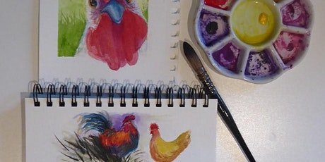 11am-1pm Chickens in Watercolor & Acrylic Zoom Class with Jean Anderson tickets