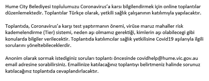 Coronavirus Information Session - Turkish image