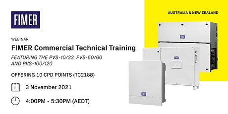 FIMER Commercial Solar Technical Training [WEBINAR] - 10 CPD Points tickets