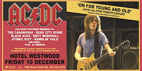 'On for Young and old' AC/DC Tribute fundraiser night, at Hotel Westwood tickets