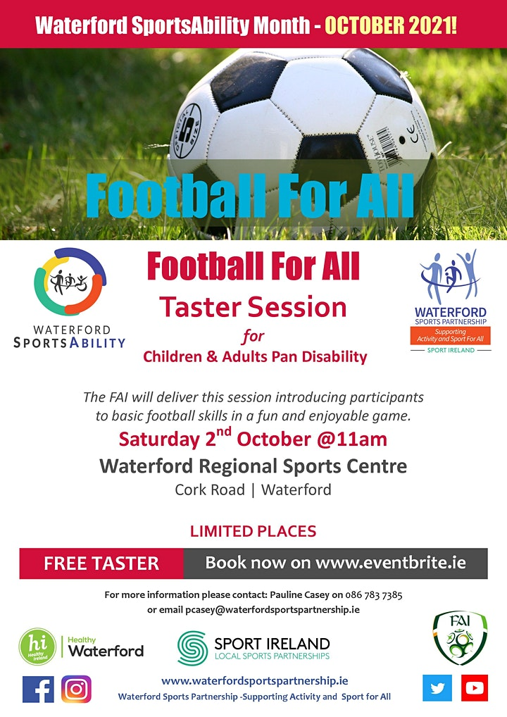 Waterford SportsAbility - Football For All Saturday 2nd October 2021 image