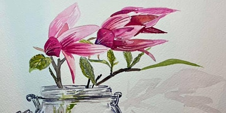 The Friday Gallery Watercolour painting online class: Magnolias in a vase tickets