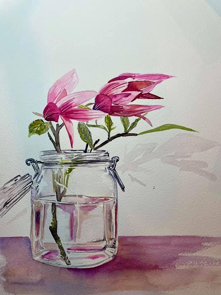The Friday Gallery Watercolour painting online class: Magnolias in a vase image