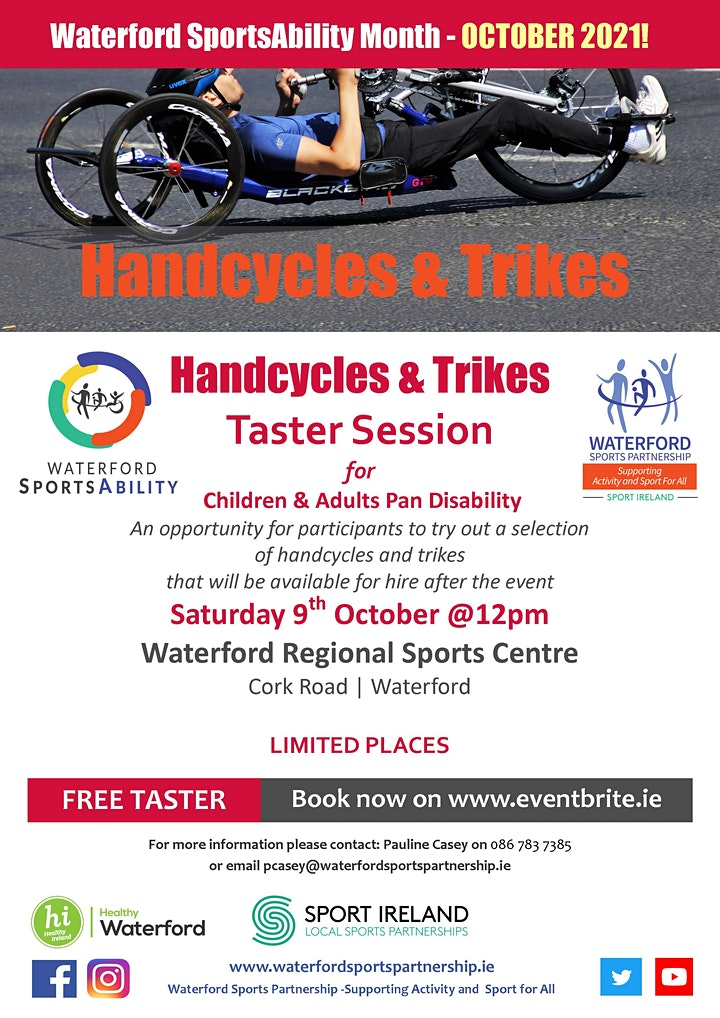 Waterford SportsAbility - Come & Try Handcycles & Trikes Sat 9th Oct 2021 image
