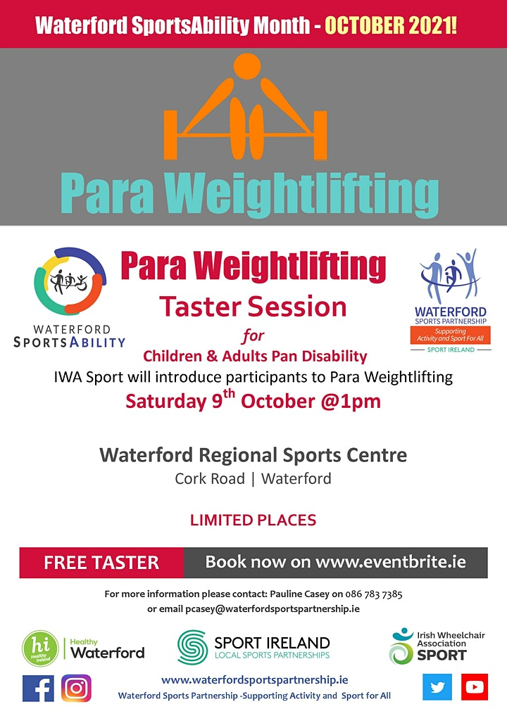 Waterford SportsAbility - Para Weightlifting Saturday 9th October 2021 image